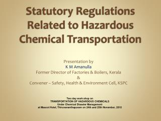 Statutory Regulations Related to Hazardous Chemical Transportation