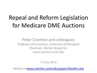 Repeal and Reform Legislation for Medicare DME Auctions