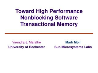 Toward High Performance Nonblocking Software Transactional Memory