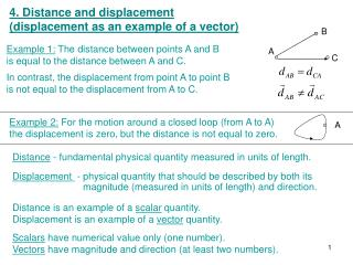 4. Distance and displacement  (displacement as an example of a vector)
