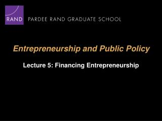 Entrepreneurship and Public Policy