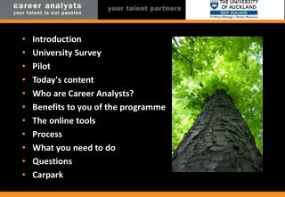 Introduction University Survey Pilot Today's content Who are Career Analysts?