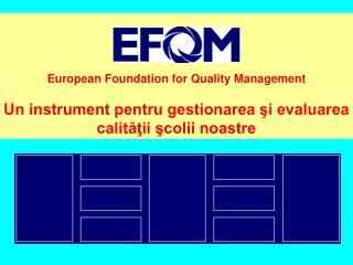European Foundation for Quality Management  Un instrument pentru gestionarea si evaluarea calitatii scolii noastre