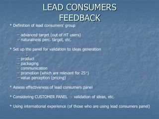 LEAD CONSUMERS FEEDBACK