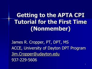 Getting to the APTA CPI Tutorial for the First Time (Nonmember)
