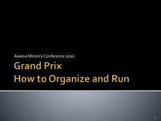 Grand Prix How to Organize and Run