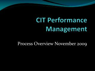 CIT Performance Management