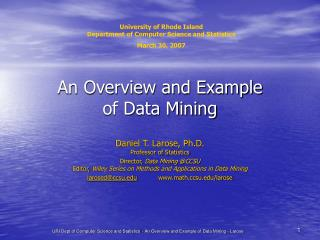 An Overview and Example of Data Mining