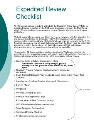 Expedited Review Checklist