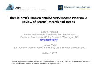 The Children ' s Supplemental Security Income Program: A Review of Recent Research and Trends