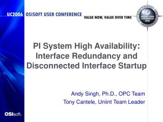 PI System High Availability :  Interface Redundancy and Disconnected Interface Startup