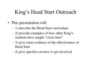 King�s Head Start Outreach