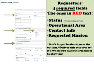 Requestors:  4  required  fields  The ones in  RED  text: Status  (Action Required)