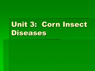 Unit 3:  Corn Insect Diseases