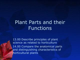 Plant Parts and their Functions