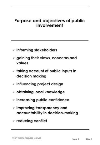 Purpose and objectives of public involvement