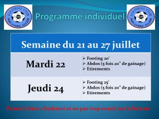 Programme individuel