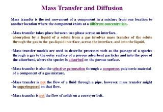 Mass Transfer and Diffusion