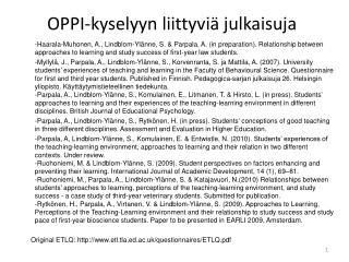 OPPI-kyselyyn  liittyviä julkaisuja