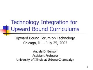 Technology Integration for Upward Bound Curriculums