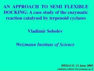 DIMACS, 13 June 2005 vladimir.sobolev@weizmann.ac.il