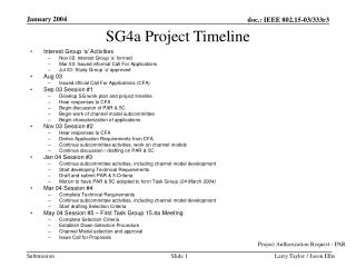 SG4a Project Timeline