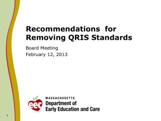 Recommendations  for Removing QRIS Standards