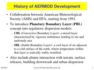 History of AERMOD Development
