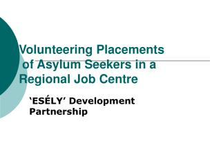 Volunteering Placements  of Asylum Seekers in a Regional Job Centre