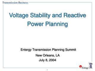 Voltage Stability and Reactive Power Planning