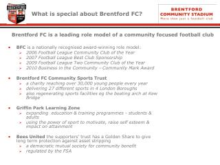 What is special about Brentford FC?