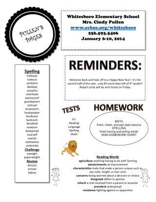 Whitesboro Elementary School Mrs. Cindy Pullen ecboe/whitesboro 256.593.5406