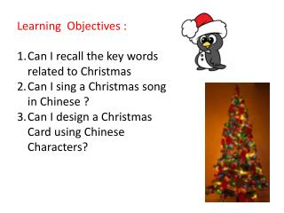 Learning  Objectives :  Can I recall the key words related to Christmas