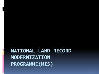 National Land Record Modernization Programme(MIS)