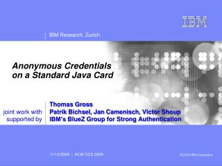 Anonymous Credentials on a Standard Java Card