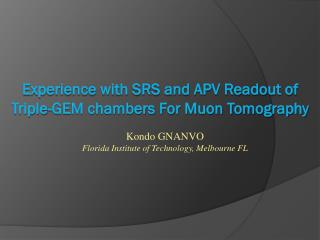 Experience with SRS and APV Readout of Triple-GEM chambers For Muon Tomography
