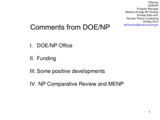 Comments from DOE/NP