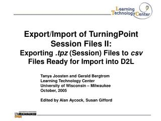 Export/Import of TurningPoint Session Files II: