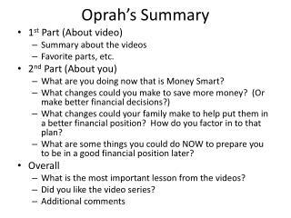 Oprah's Summary