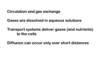 Circulation and gas exchange Gases are dissolved in aqueous solutions