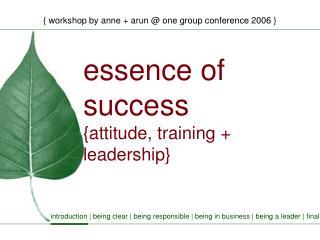 Essence of success {attitude, training  leadership}