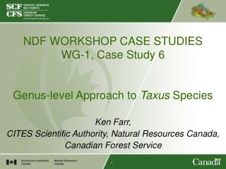 NDF WORKSHOP CASE STUDIES WG-1, Case Study 6   Genus-level Approach to  Taxus  Species