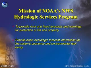 Mission of NOAA's NWS Hydrologic Services Program