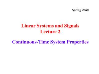 Continuous-Time System Properties