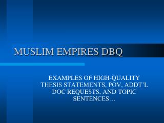 MUSLIM EMPIRES DBQ