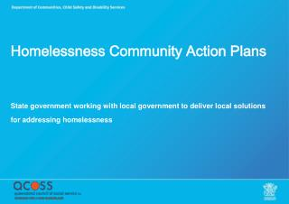 Homelessness Community Action Plans