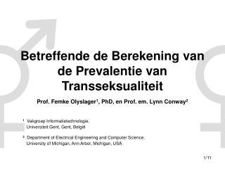 Betreffende de Berekening van de Prevalentie van Transseksualiteit