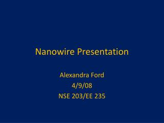 Nanowire  Presentation