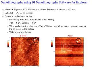 Nanolithography using DI Nanolithography Software for Explorer