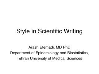 Style in Scientific Writing